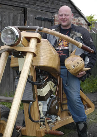 Kieran's woody Wooden motorcycle