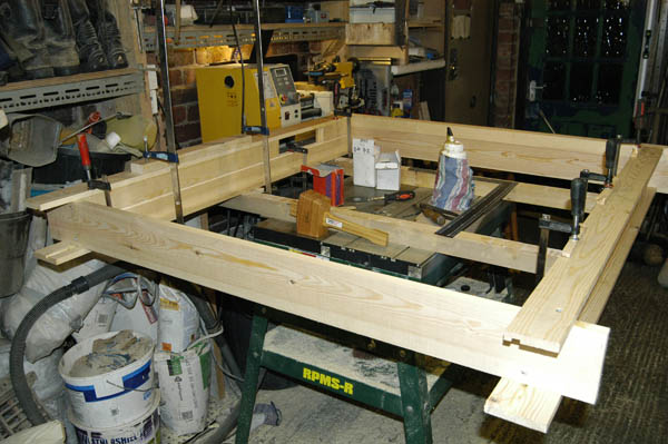Glue and clamping Sash window frame box