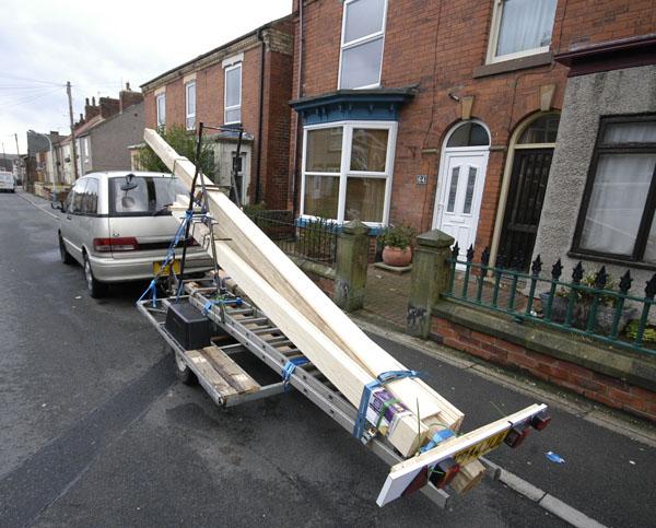 5.3 meter timber beam loade on trailer